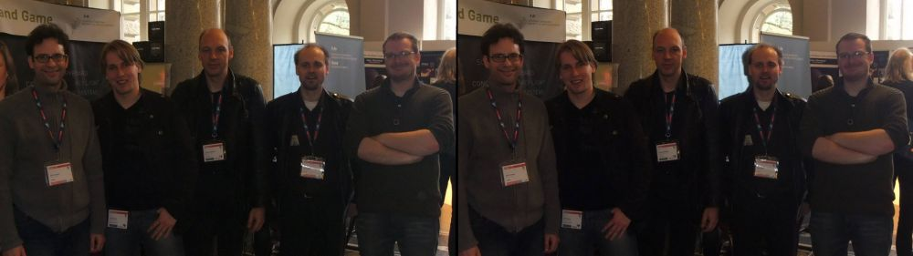 L-R: Neil Schneider (CEO of MTBS), Oliver Eberlei (student), Tilmann Kohlhaase (Professor, Animation & Game Production, University of Applied Sciences), Jens Schöbel (Technical Designer, Crytek), Boris Weber (Programmer, Crytek)