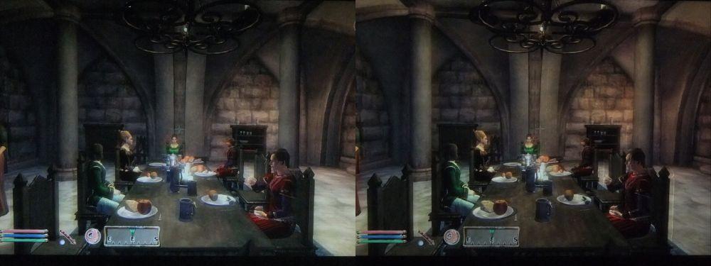 Fotografía estéreo de un juego estéreo: imagen estereoscópica del juego Elder Scrolls IV: Oblivion, tomada por MTBS3D.com de un monitor iZ3d empleando las nuevas gafas y el nuevo algoritmo, con una cámara Fuji W1 S-3D
