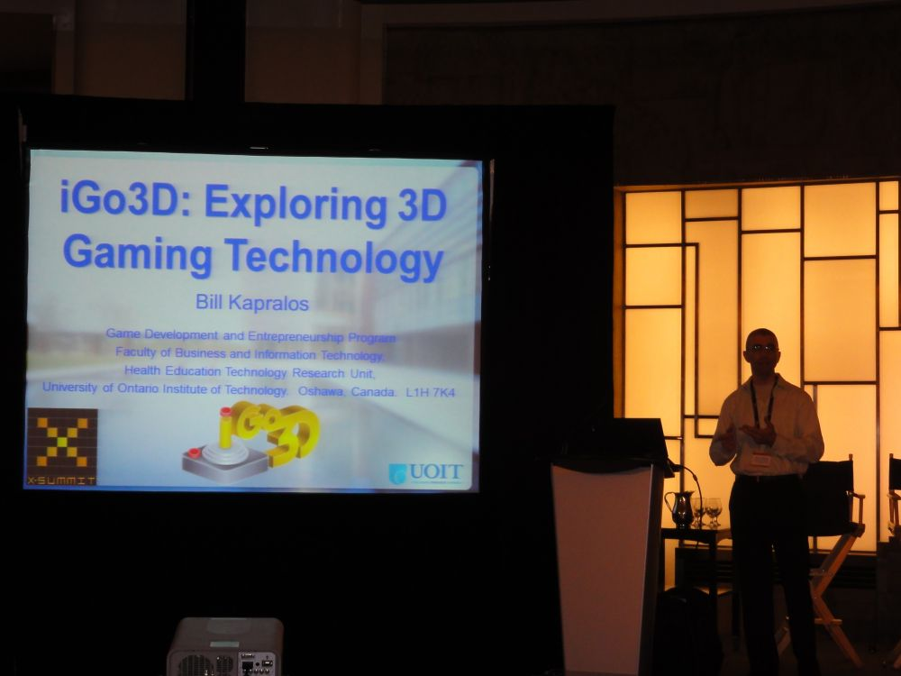 Dr. Bill Kapralos, Discussing iGO3D at X-Summit