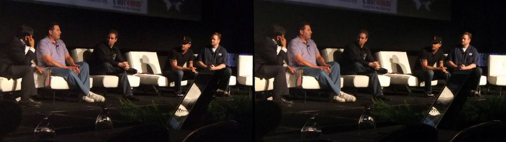 Left to right: Ashu Rege (Nvidia), Mark Rein (Epic Games), Cristian Svensson (Capcom Entertainment). Luis Giglioti (THQ), Greg Spence (Sony Online Entertainment) at 3D Gaming Summit