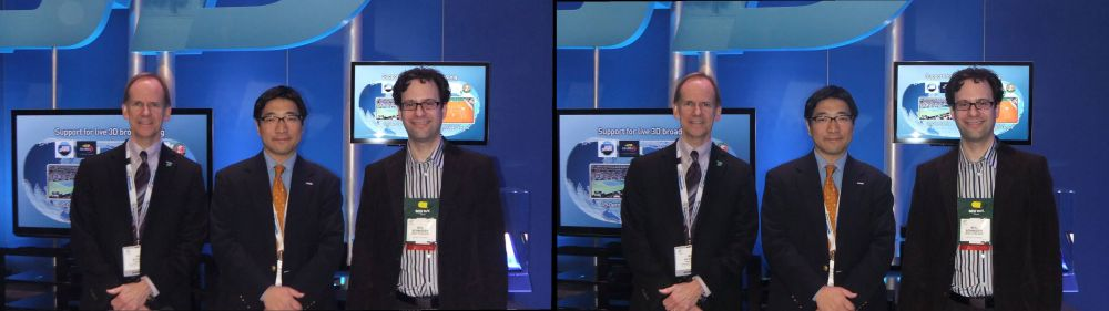 L-R: Ian Kilvert (General Manager) and Masa Fukata (Senior Marketing Manager) for Panasonic Canada and Neil Schneider of MTBS at CES 2011