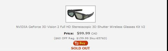 3D Vision 2 Glasses...sold out AGAIN!